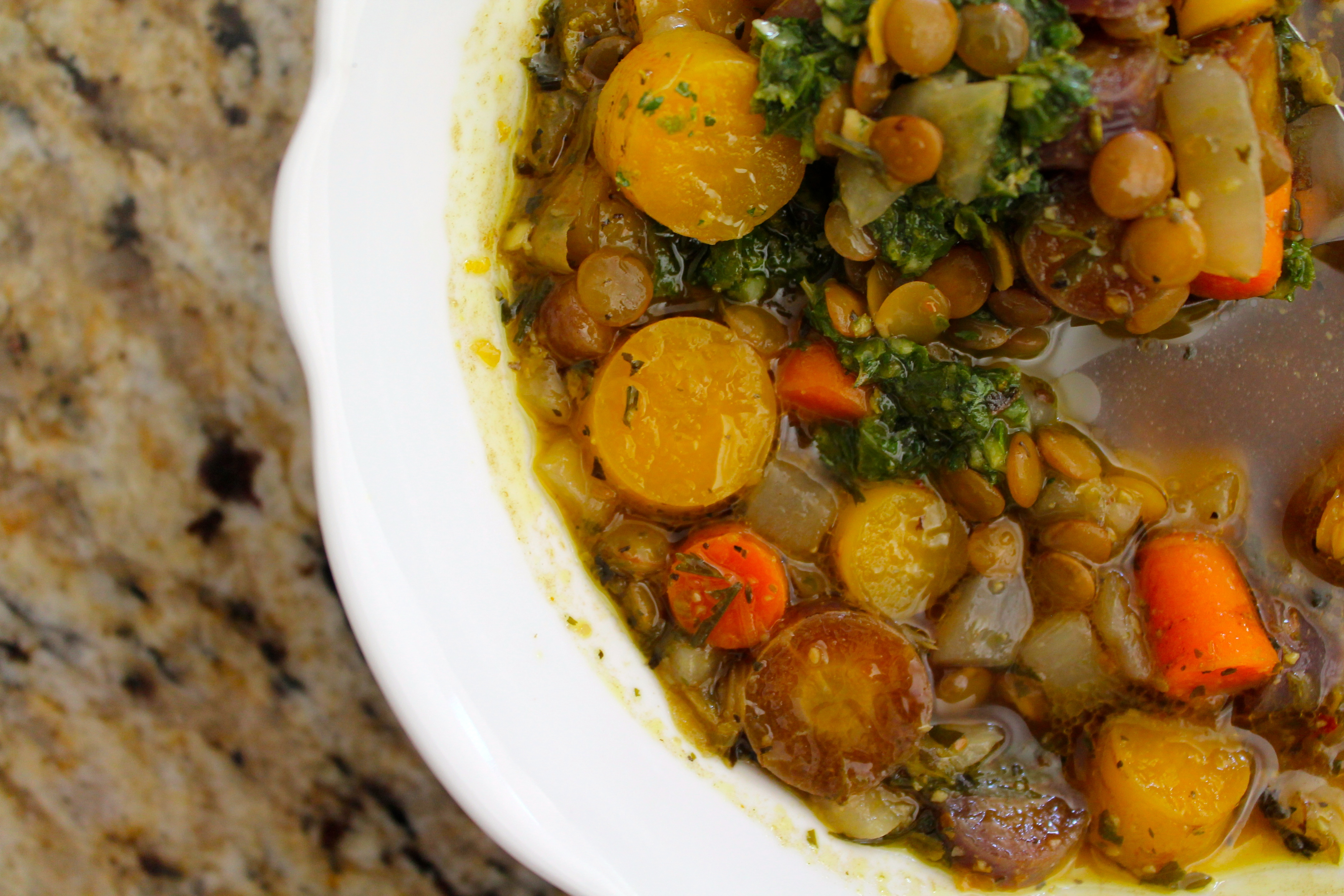 Tri Color Carrot and Lentil Soup with Pistou