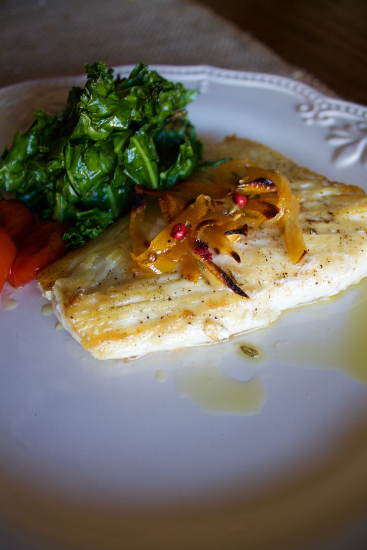 Broiled Pacific Cod with Meyer Lemon Confit, Sautéed Kale with Garlic and Blistered Cherry Tomatoes