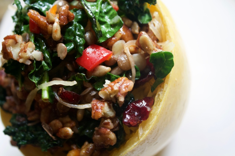 Antioxidant Powerhouse Spaghetti Squash Bowl with sprouted lentils, kale, sweet and smoky pecans and sunflower seeds, dark cherries, and cranberries