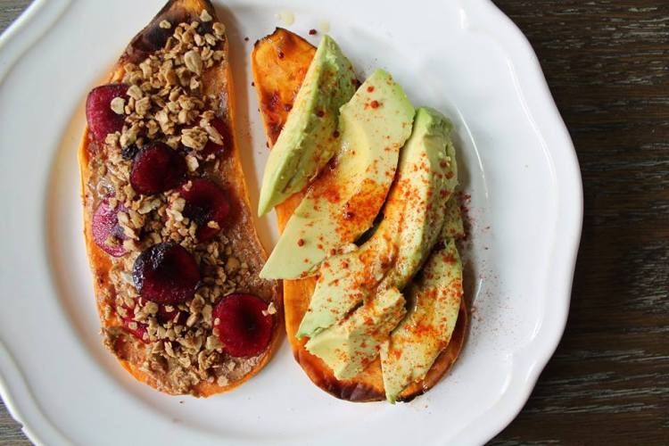 Sweet Potato Toast : Sweet ~ Almond Butter, Granola and Cherries Savory ~ Avocado, Smoked Paprika and Olive Oil